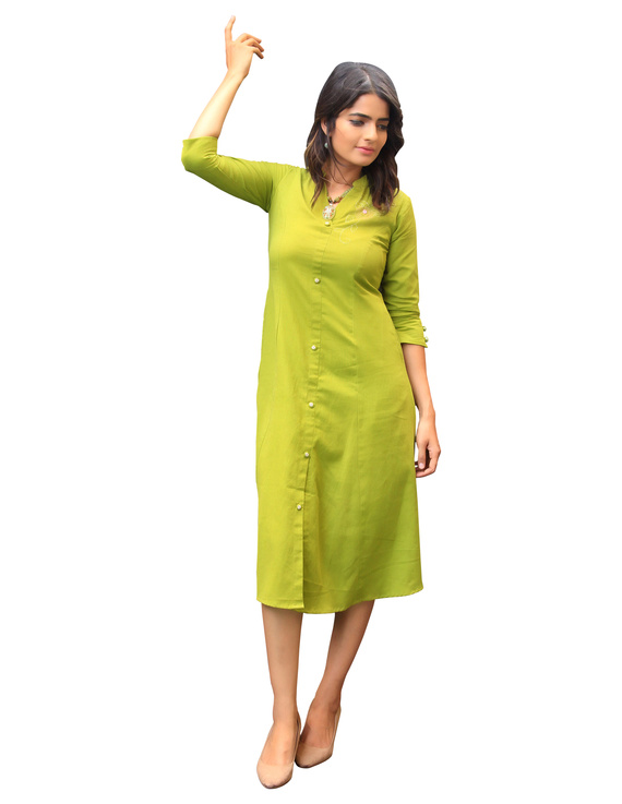 MEHENDI GREEN A LINE DRESS WITH FLORAL EMBROIDERY : LD330B-S-4