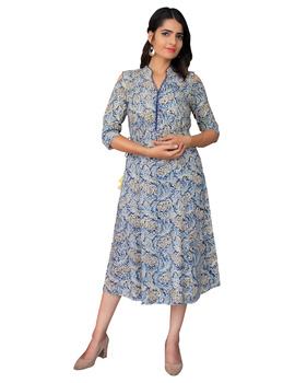 Blue Kalamkari cold shoulder dress with drawstring waist- LD360B-S-5-sm