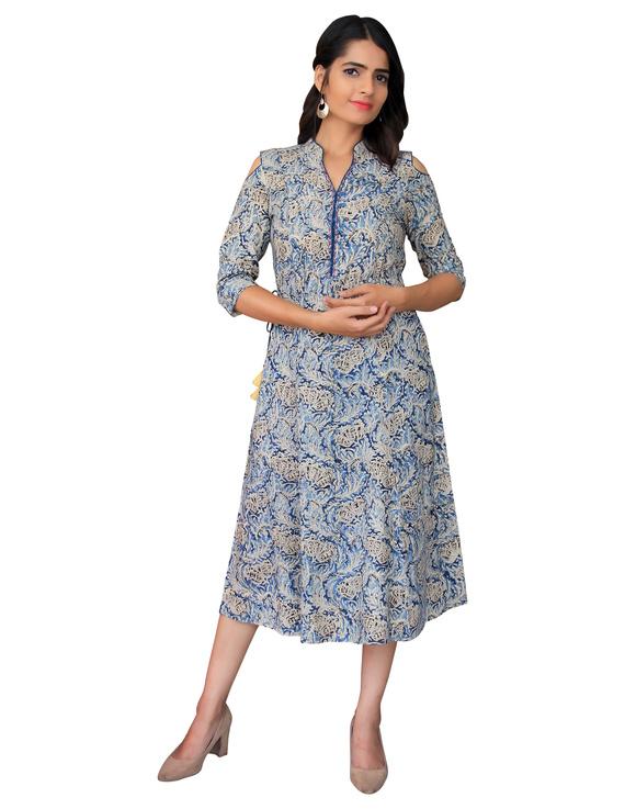 Blue Kalamkari cold shoulder dress with drawstring waist- LD360B-S-5