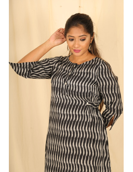 Assymetric Black-Grey Ikat Dress : Ld450D-M-1-sm