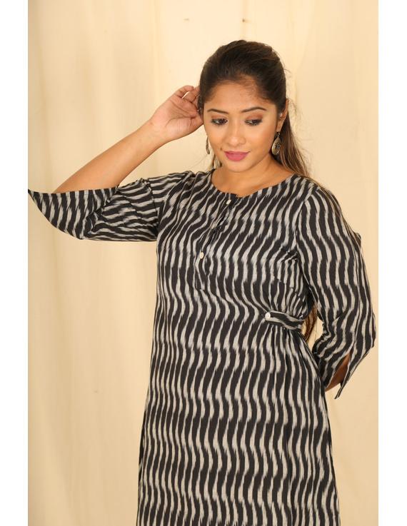 Assymetric Black-Grey Ikat Dress : Ld450D-M-1