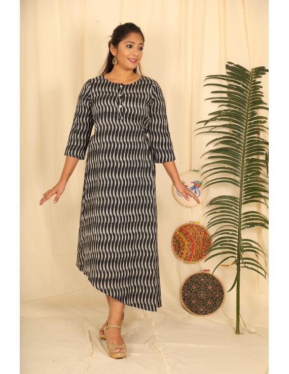 Assymetric Black-Grey Ikat Dress : Ld450D-LD450D-M