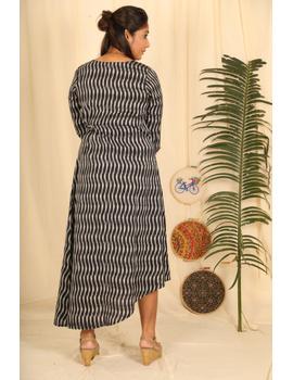 Assymetric Black-Grey Ikat Dress : Ld450D-M-3-sm
