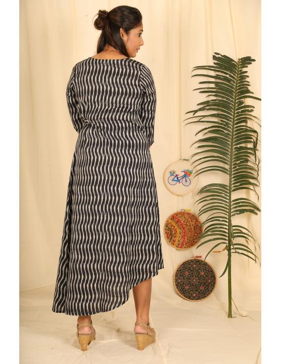 Assymetric Black-Grey Ikat Dress : Ld450D-M-3