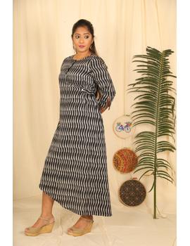 Assymetric Black-Grey Ikat Dress : Ld450D-M-2-sm