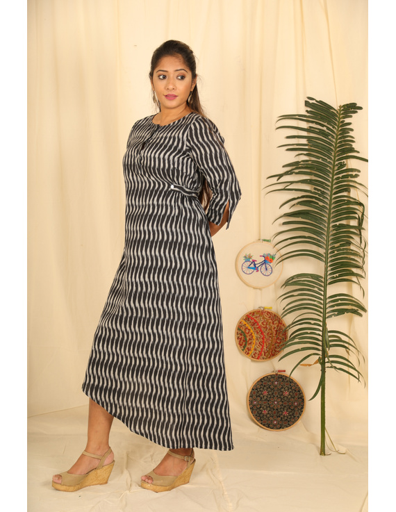 Assymetric Black-Grey Ikat Dress : Ld450D-M-2