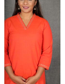 Orange Overlapped V Collar Kurta : Lk360A-S-2-sm