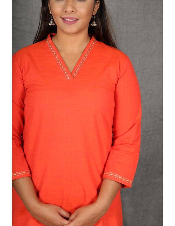 Orange Overlapped V Collar Kurta : Lk360A-S-2