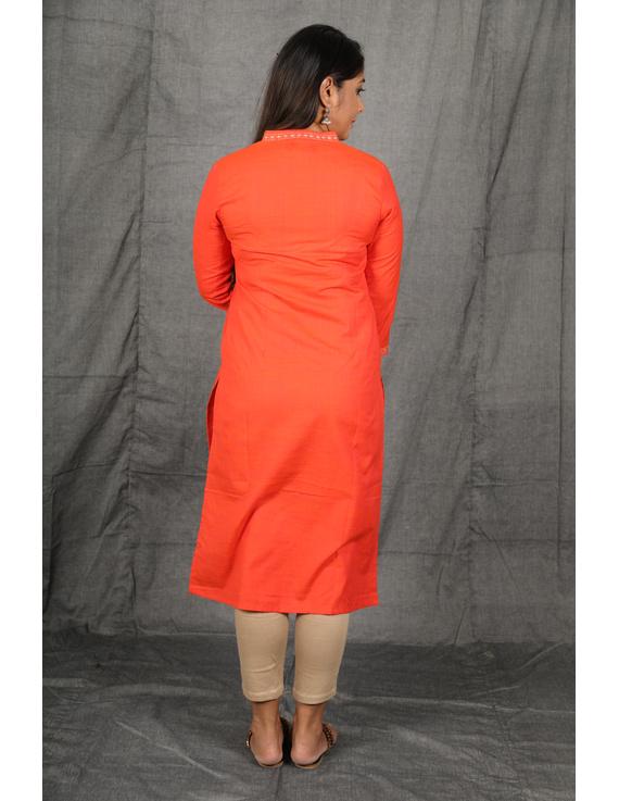 Orange Overlapped V Collar Kurta : Lk360A-S-3
