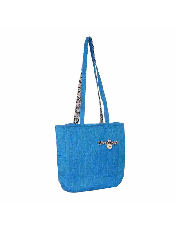 Cyan blue quilted flat bag : TBI02-2
