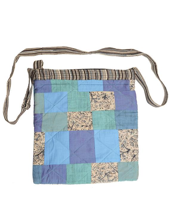 Patchwork quilted jhola bag - blue : SBP01-1