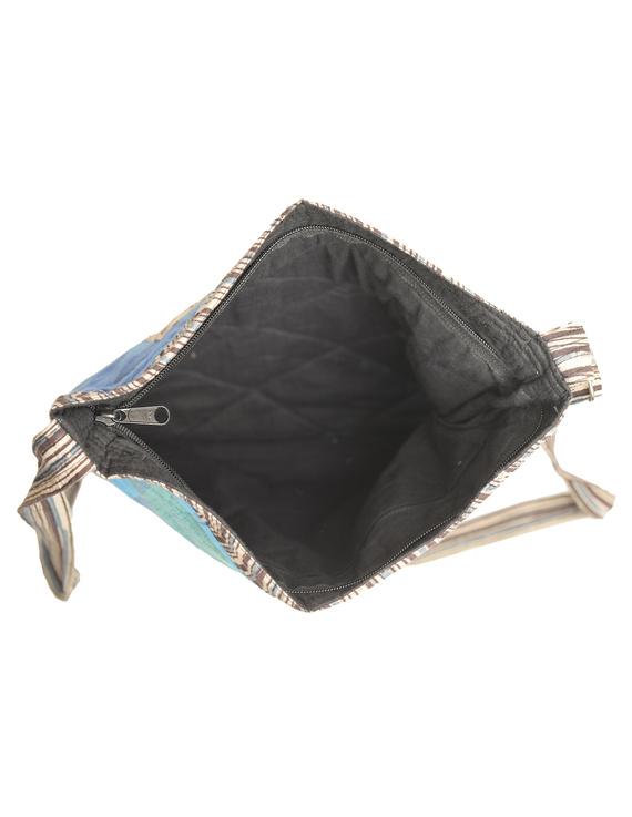 Patchwork quilted jhola bag - blue : SBP01-3