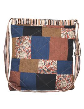 Patchwork quilted jhola bag - brown : SBP02-1-sm