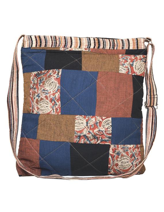 Patchwork quilted jhola bag - brown : SBP02-1