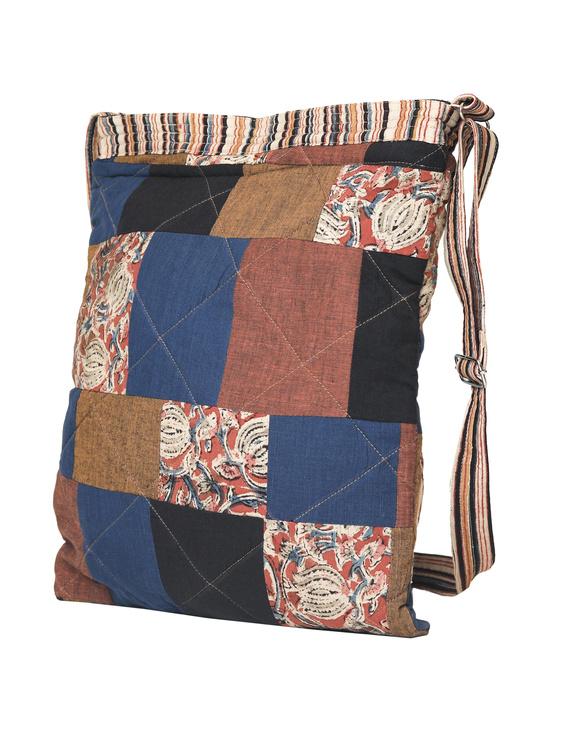Patchwork quilted jhola bag - brown : SBP02-2