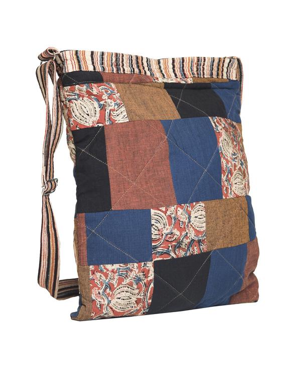 Patchwork quilted jhola bag - brown : SBP02-3