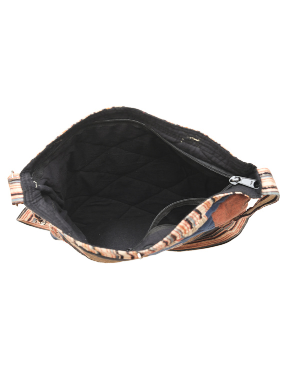 Patchwork quilted jhola bag - brown : SBP02-4