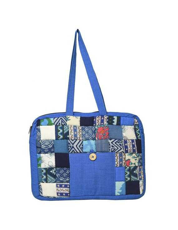 Patchwork quilted laptop bag - blue : LBP01-1