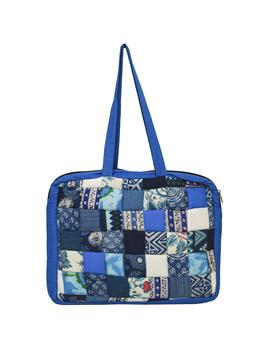 Patchwork quilted laptop bag - blue : LBP01-2-sm