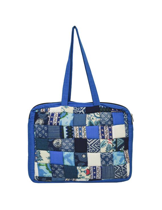 Patchwork quilted laptop bag - blue : LBP01-2