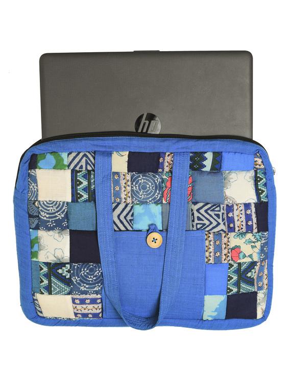 Patchwork quilted laptop bag - blue : LBP01-3