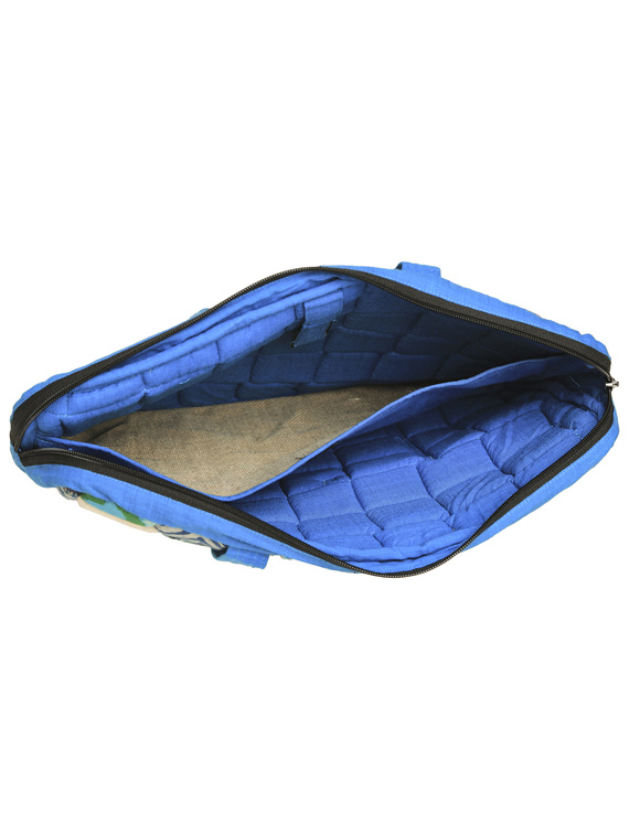Patchwork quilted laptop bag - blue : LBP01-4