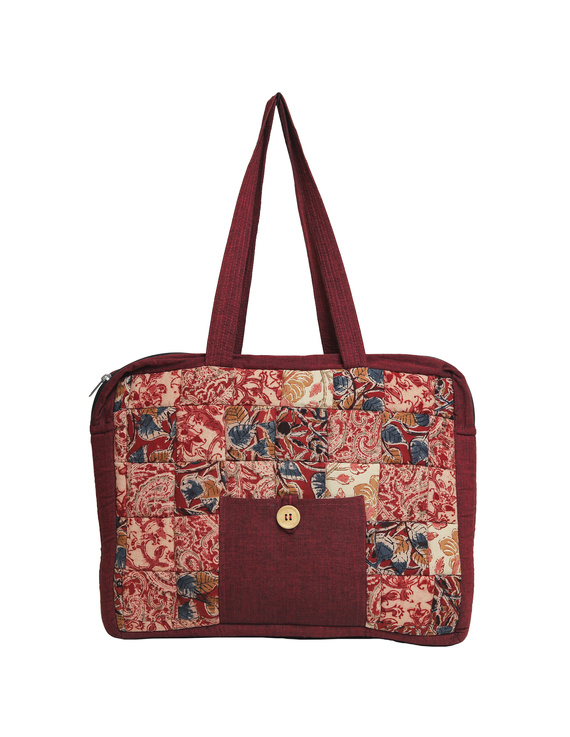 Patchwork quilted laptop bag - maroon : LBP02-4