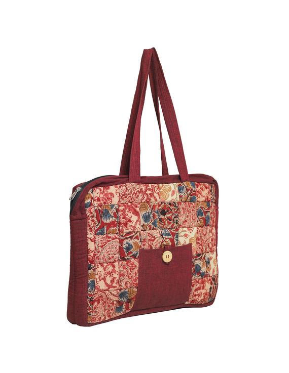 Patchwork quilted laptop bag - maroon : LBP02-3