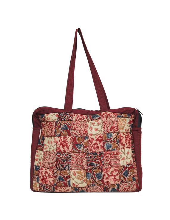 Patchwork quilted laptop bag - maroon : LBP02-2