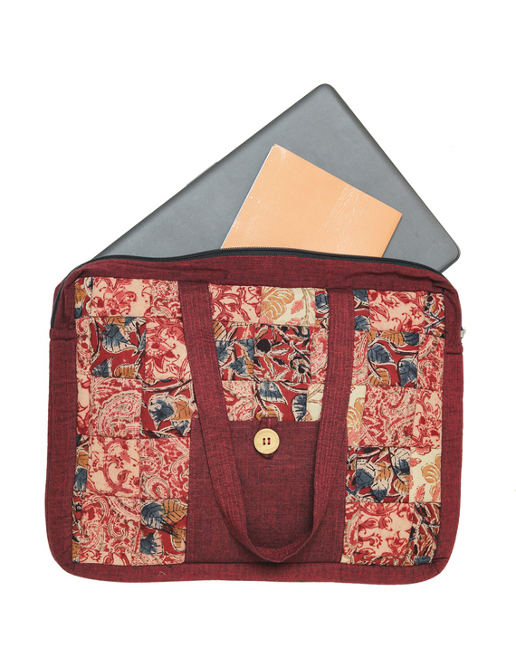 Patchwork quilted laptop bag - maroon : LBP02-1
