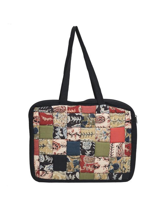 Patchwork quilted laptop bag - black : LBP03-2