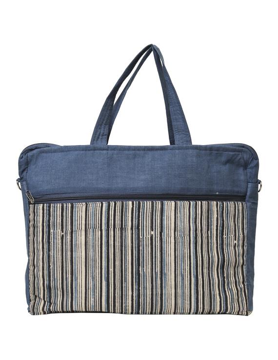 Kalamkari Laptop bag With Cross Body Strap - Blue : LBM01-6