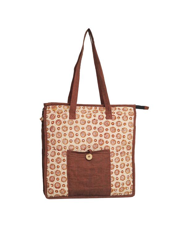 Kalamkari quilted tote bag - large - orange  : TBKL04-1