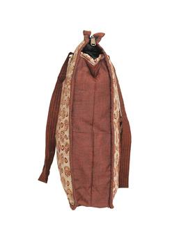 Kalamkari quilted tote bag - large - orange  : TBKL04-2-sm