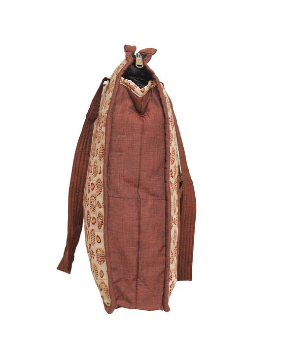 Kalamkari quilted tote bag - large - orange  : TBKL04-2