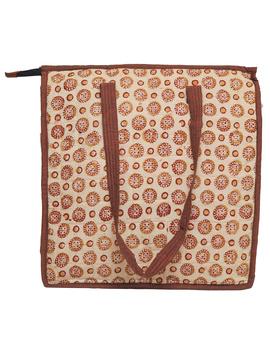 Kalamkari quilted tote bag - large - orange  : TBKL04-3-sm