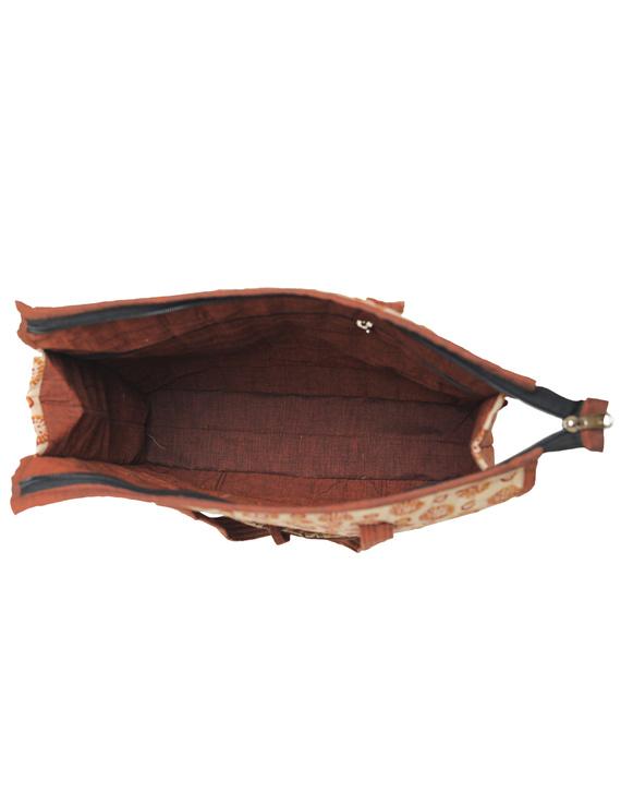 Kalamkari quilted tote bag - large - orange  : TBKL04-4
