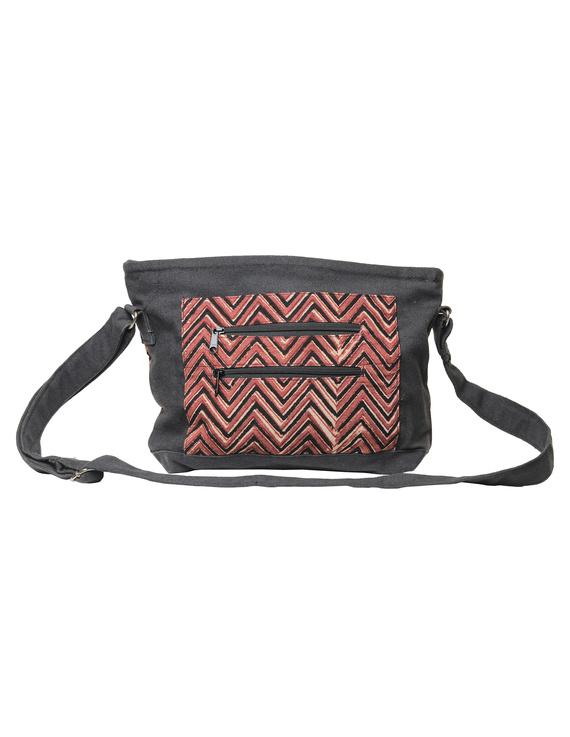 Multi pocket canvas purse in brown kalamkari fabric : SBC01-4