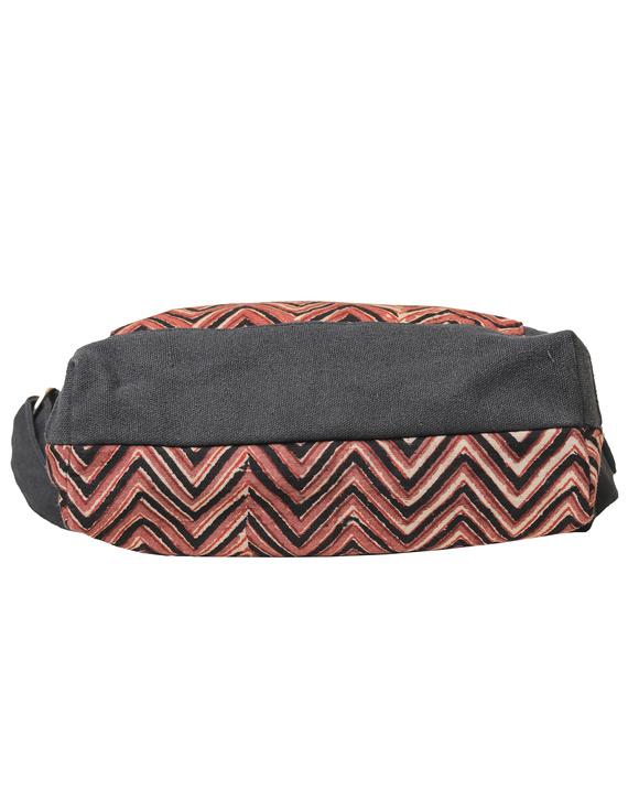 Multi pocket canvas purse in brown kalamkari fabric : SBC01-5