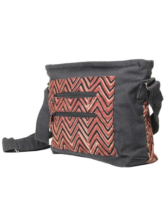 Multi pocket canvas purse in brown kalamkari fabric : SBC01-3