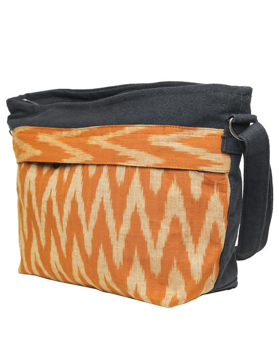 Multi pocket canvas purse with mustard ikat fabric : SBC02-4