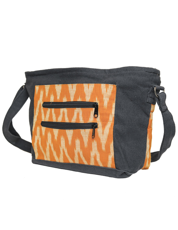 Multi pocket canvas purse with mustard ikat fabric : SBC02-3