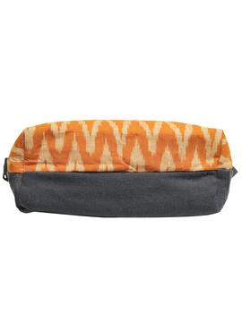 Multi pocket canvas purse with mustard ikat fabric : SBC02-5-sm