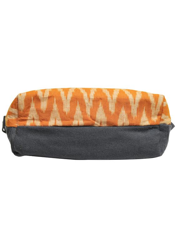 Multi pocket canvas purse with mustard ikat fabric : SBC02-5