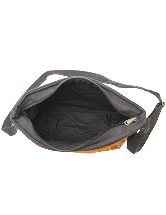 Multi pocket canvas purse with mustard ikat fabric : SBC02-6