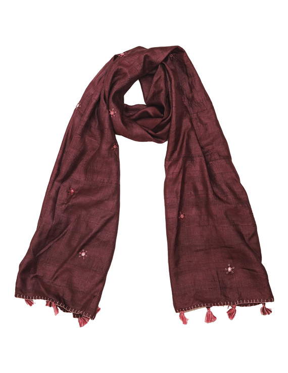 Hand embroidered stole in maroon silk: WAS01C-WAS01C