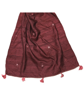 Hand embroidered stole in maroon silk: WAS01C-1-sm