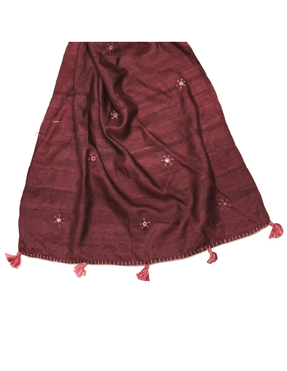 Hand embroidered stole in maroon silk: WAS01C-1