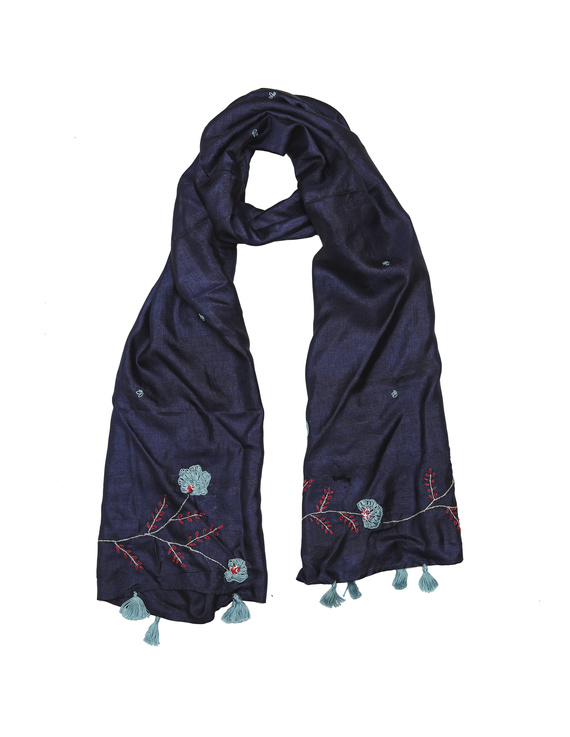 Hand embroidered stole in blue silk: WAS01B-WAS01B