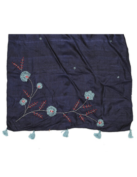 Hand embroidered stole in blue silk: WAS01B-2-sm